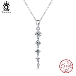 ORSA JEWELS Ethnic 925 Sterling Silver Long Leaf Shape Pendant Necklaces For Women Fine Jewelry Girl Female Wedding Gift SN76