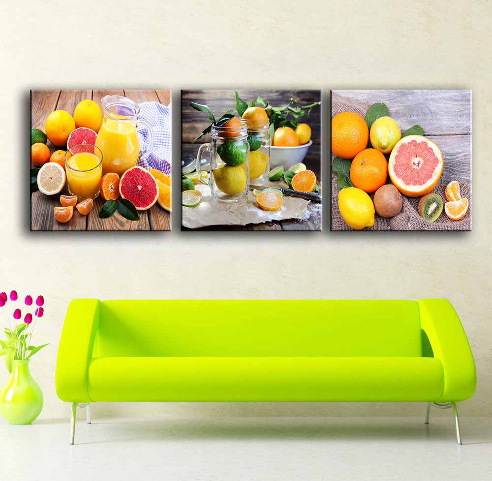 3 Pieces Paintings For The Kitchen Fruit Juice Wall Decor Modern Canvas Art  Wall Pictures For