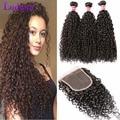 Kinky Curly Virgin Hair With Closure Mongolian Kinky Curly 3 Bundles Hair Weave With Closure Wet And Wavy Curly Hair Bundle Deal