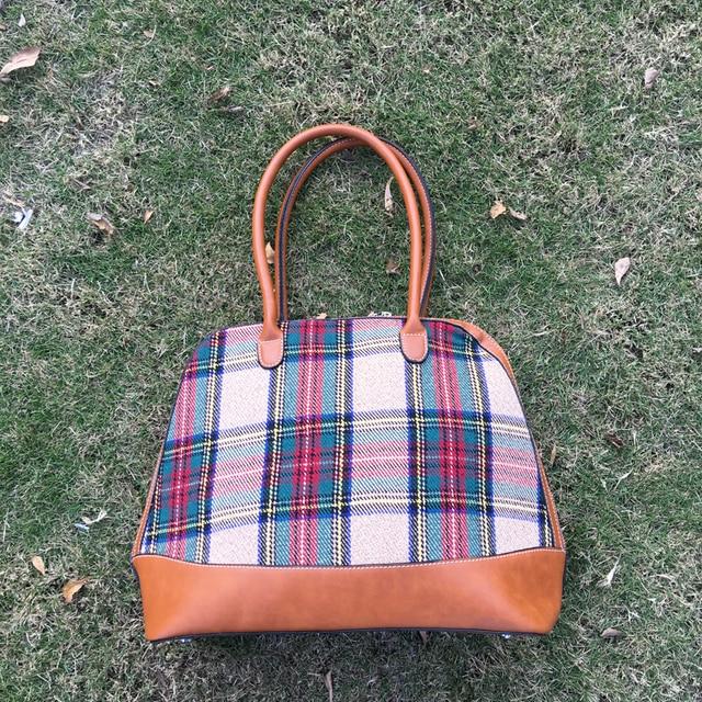 Wholesale Blanks DOMIL Plaid Canvas Tote Bag PU Vegan Leather Handle Women  Handbag Patchwork Sanded Tartan 37023f4850f9d