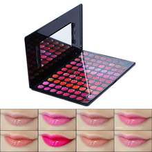 Fashion 88 Colors Makeup Cosmetic Moisturizer Lip Gloss Lipstick Palette with Fiber Wool Makeup Brushes and Mirror