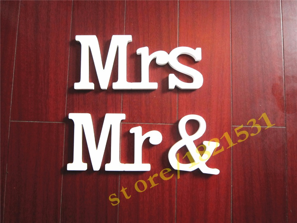 Height 12cm /15cm Conjoined MR & MRS Letter <font><b>Home</b></font> <font><b>Decor</b></font> Decoration Wood Wooden White Letters Alphabet Wedding Birthday Decoration