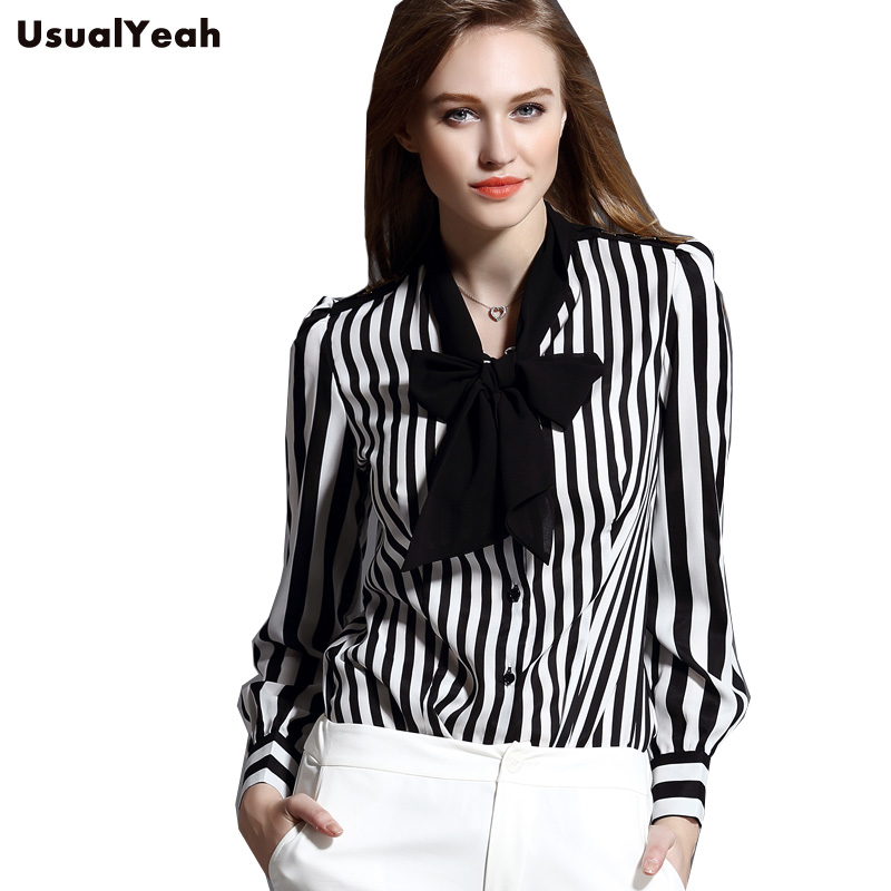 New 2017 women shirts body blouse striped bow office lady for Banded bottom shirts canada