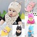 Малыш Ребенок Детские Мальчики Девочки Сна Hat Cap + Слюны Полотенце Треугольник Платок Набор L07