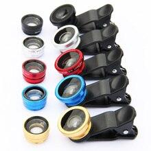 Universal 3in1 Clip lente ojo de pez Macro gran angular de lente de teléfono móvil para el IPhone 6 5 4 S4 S5 LG G2 G3 los teléfonos inteligentes de ojo de pez