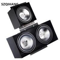 Luz embutida interna 15w 2x15w espiga preta led luzes ousadas olho de cabeça dupla anti-brilho grille spotlight 1/2/3 cabeça