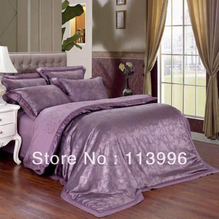 23 expensive purple jacquard satin embroidered bedding