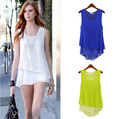 2016 Summer Women Chiffon Blouses Shirts O-neck Sleeveless Double Irregular Solid Fashion Casual Ladies Tops Blusas Green/ Blue