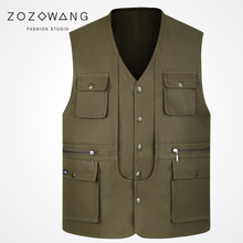Zozowang 2017 new solid single breasted v neck casual multiple pockets vest men fashion plus size waist coat