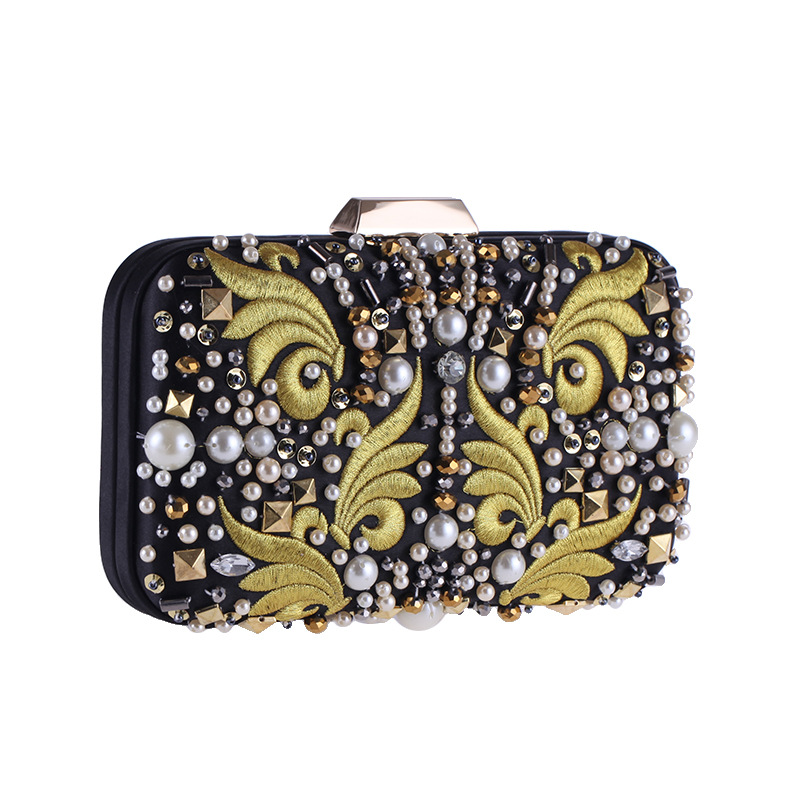 Evening Bags Diamond Rhinestone Pearls Beaded Day Clutch Womens Purse Handbags Wallets Evening Wedding Bag Handmade Party bag