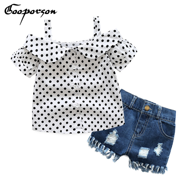 Girls Clothing Set Dot White Shoulderless Shirt+Tassel Jeans Shorts Pants Kids Clothes Suit Denim Children Clothes set baby girl 2pcs children outfit clothes kids baby girl off shoulder cotton ruffled sleeve tops striped t shirt blue denim jeans sunsuit set