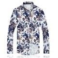 New arrival 2016 autumn fashion floral print men shirt plus size 6xl slim fit shirts men camisas hombre men's clothing /CS8