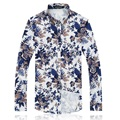 New arrival 2017 autumn fashion floral print men shirt plus size 6xl slim fit shirts men camisas hombre men's clothing /CS8