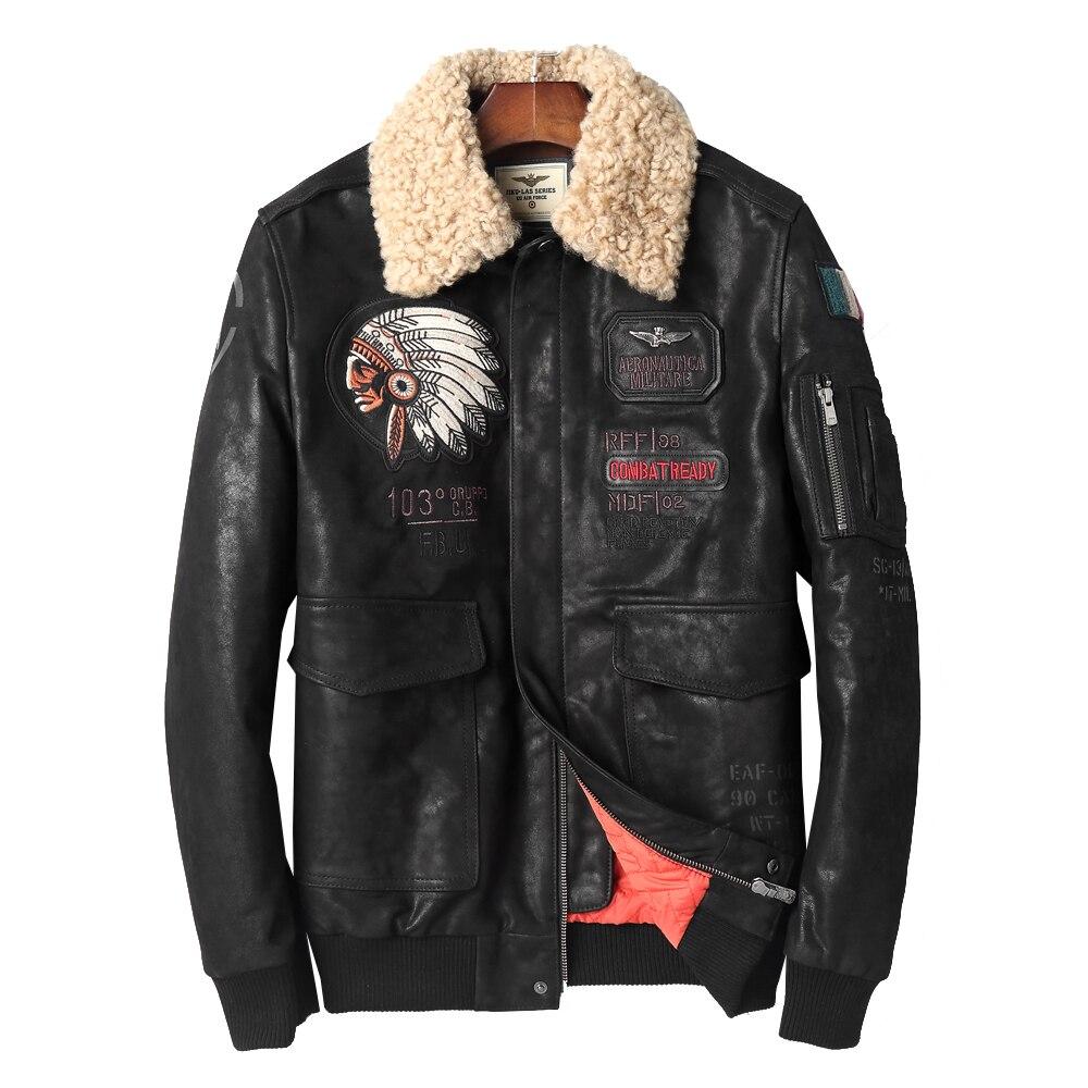 Новые мужские пальто из овчины Повседневная Натуральная овечья кожа одежда Мужская мода пальто Черная куртка очень большой размер 4XL