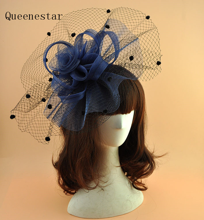 Vintage Dot Veil Mesh Fascinator Headwear White Yellow Pink Blue Ladies Net Gauze Flower Hair Clip Cocktail Party Fascinator Hat