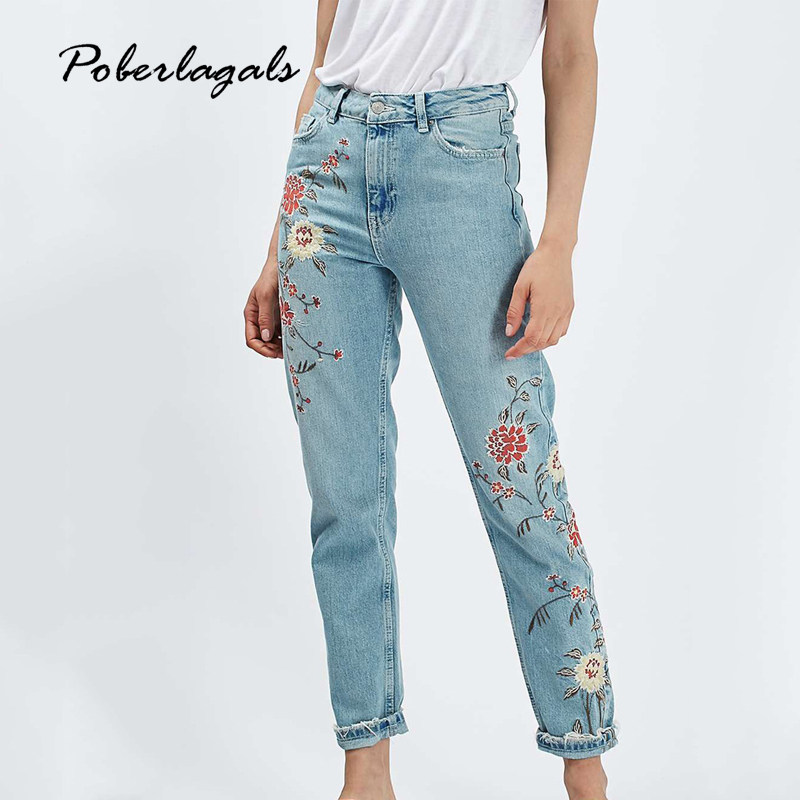 Summer New Flower embroidery jeans female Light blue casual pants capris 2017 autumn winter Pockets straight jeans women bottom women jeans vintage flower embroidery high waist pocket straight jeans female bottom light blue hole casual pants capris new