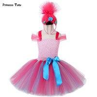 Children Trolls Poppy Cosplay Tutu Dress Baby Girl Birthday Party Dresses Princess Christmas Halloween Costume For