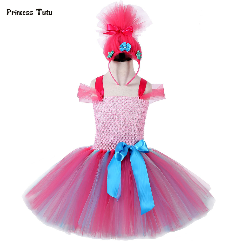 Children Trolls Poppy Cosplay Tutu Dress Baby Girl Birthday Party Dresses Princess Christmas Halloween Costume For Kids Clothes fancy girl mermai ariel dress pink princess tutu dress baby girl birthday party tulle dresses kids cosplay halloween costume