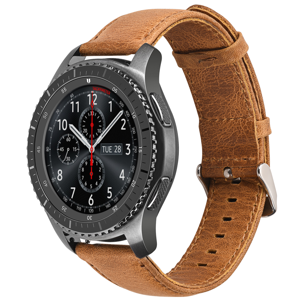 все цены на 22mm Genuine Leather Strap Band For Samsung Gear S3 Classic Frontier Watch Band Leather Strap For Galaxy watch 46mm Metal buckle онлайн