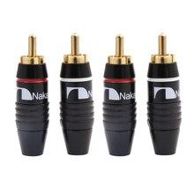 4 قطعة Nakamichi سدادة RCA كابل الصوت ذكر موصل 24K مطلية بالذهب