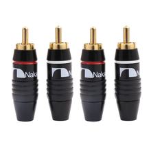 4pcs Nakamichi RCA Plug Audio Cable Male Connector 24K Gold Plated