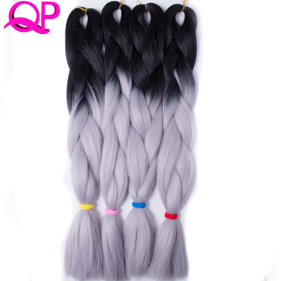 Ombre Jumbo Yaki Плетение волос 100 г 1 шт. 24-дюймовое синтетическое высокотемпературное волокно Черный Серебристо-серый Темно-зеленый Коричневый Бордовый