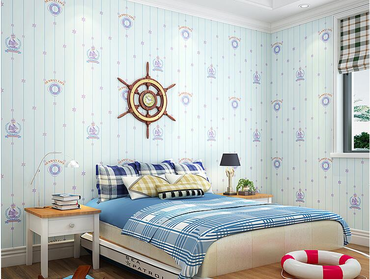 Blue Mediterranean Children's Room 3d Wallpaper Boy Girl Bedroom Nonwoven Wall paper Sailboat Background papier peint