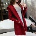 Poncho Top Novas Mulheres Lã Casaco de lã 2016 Outono E Inverno camisola Fêmea Magro Cardigan de Tricô Com Capuz Cor da Pelagem Em Coreano longo
