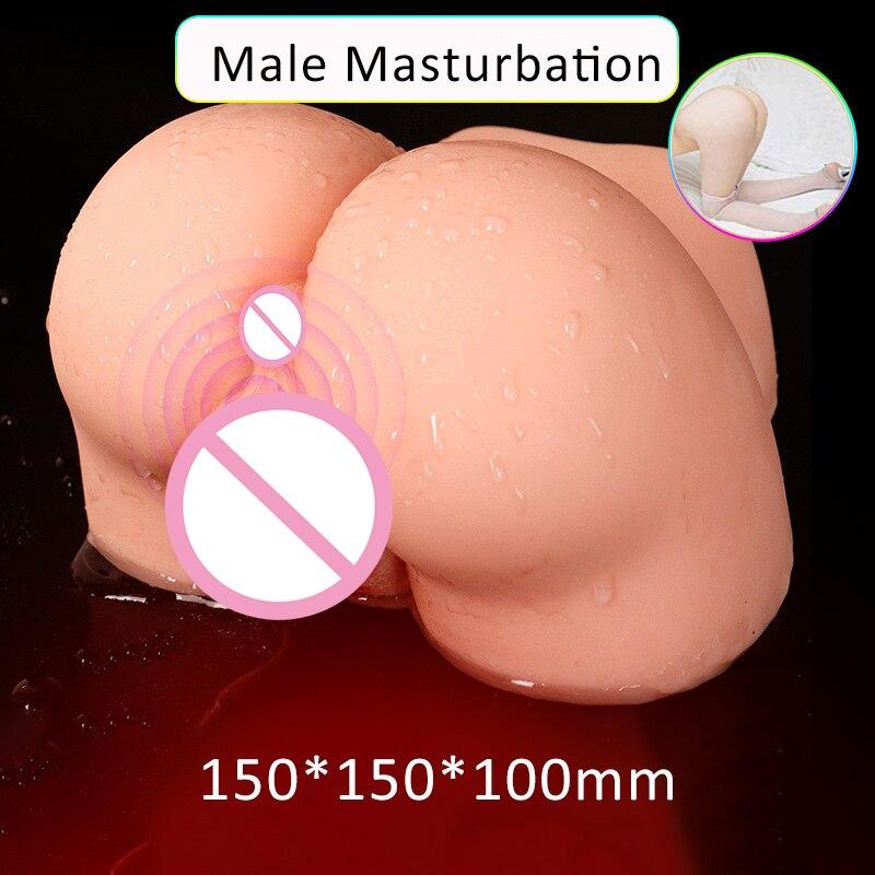 Gros Silicone réaliste vagin cul masturbateur chatte artificielle mâle Masturbation tasse Double canal poupée Anal Sex Toys pour homme