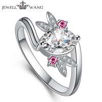 Jewellwang 18k White Gold Ring oval 1.5ct Moissanites Pink Sapphire Propose Engagement Rings For Women Shiny Gift