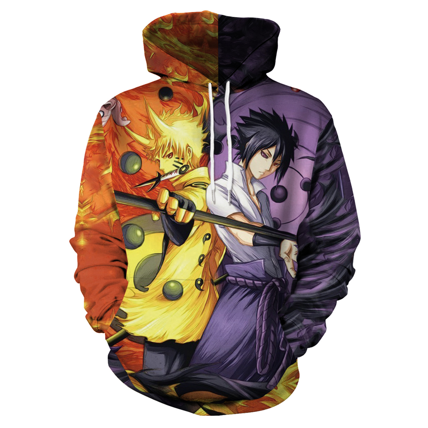 Hoodies Anime Naruto Print Hoodies with Hat Men Hoodie Loose Hooded Sweatshirt Sudaderas Para Hombre Streetwear