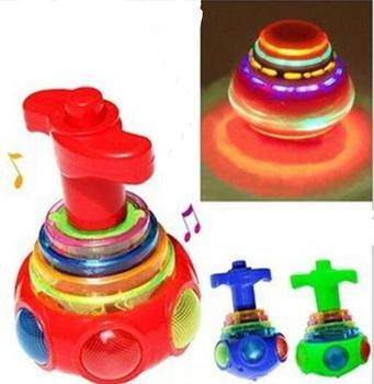 Music Gyro Spinning Top Funny Kids Toy Classic UFO Gyroscope Laser Color Flash LED Light Children's Day Gift YH1047