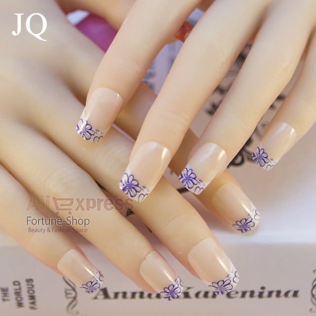 Jq 24pcsset Acrylic Pre Designer Nail Tips False French Nails Full