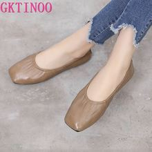 GKTINOO Female Leather Casual Shoes Women Flats Plus Size Genuine Leather Shoes Women Loafers Slip On Moccasins Nurse Flat Shoes
