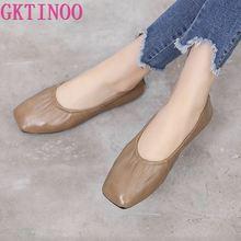 GKTINOO Kadın Deri rahat ayakkabılar Kadın Flats Artı Boyutu Hakiki deri ayakkabı Kadın Loaferlar Üzerinde Kayma Mokasen Hemşire düz ayakkabı