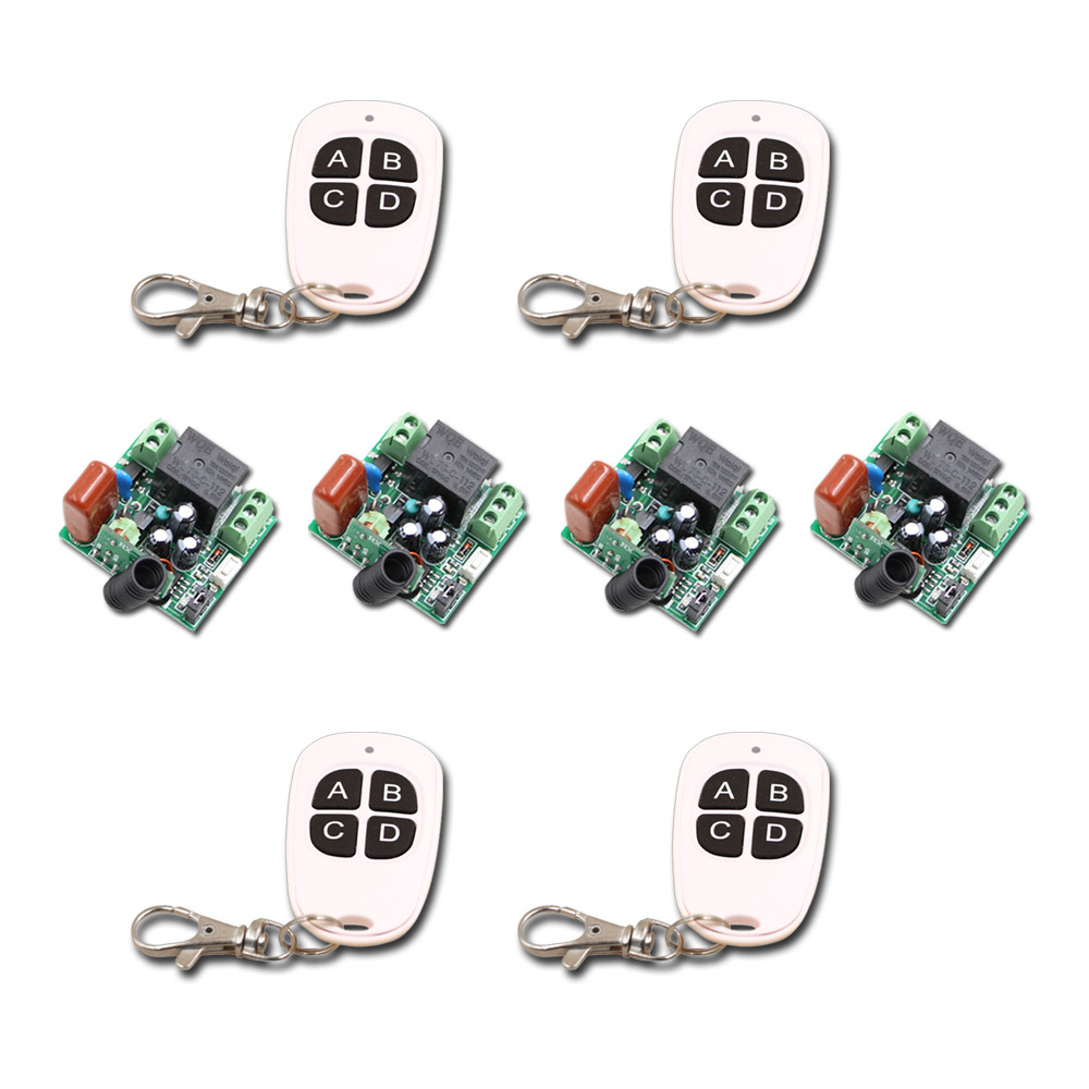 Mini Size RF Wireless Remote Control Switch System1CH 4 Transmitter & 4 Receiver Relay Receiver Hot Sales top sale ac220v rf wireless remote control switch system receiver
