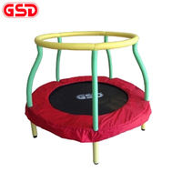 GSD High quality 4 Feet/48 Inch Round Kids Spring Trampoline with Safe Net Enclosure, jump bed TUV GS CE approval