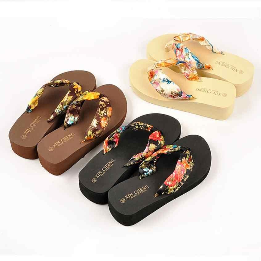 Nuevas sandalias bohemias florales de playa, sandalias con plataforma de cuña, chanclas, chanclas, zapatos de mujer de verano, zapatos de mujer, tenis Femenino