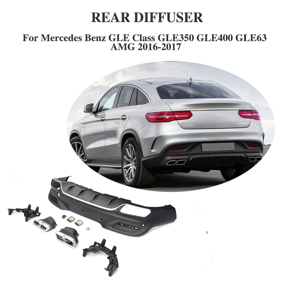 2016 Mercedes Benz Gle Coupe Exterior: PP Car Rear Bumper Lip Spoiler Diffuser With Exhaust