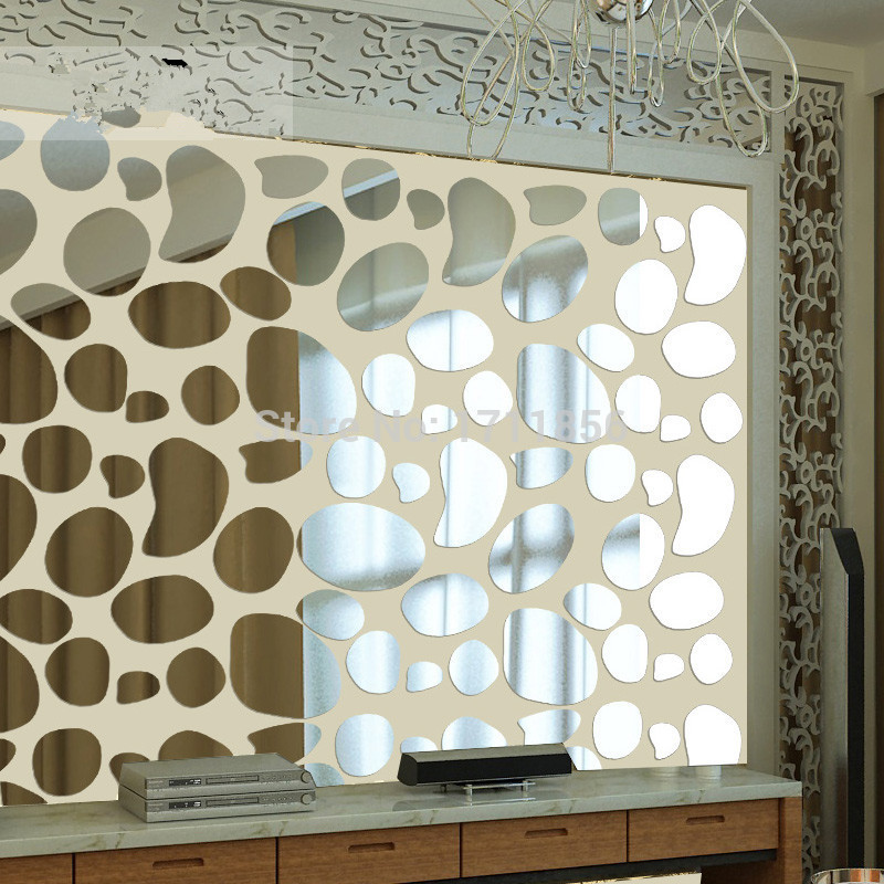 3D pebble wall stickers acrylic crystal mirror for TV living room bedroom dining creative decorative stickers