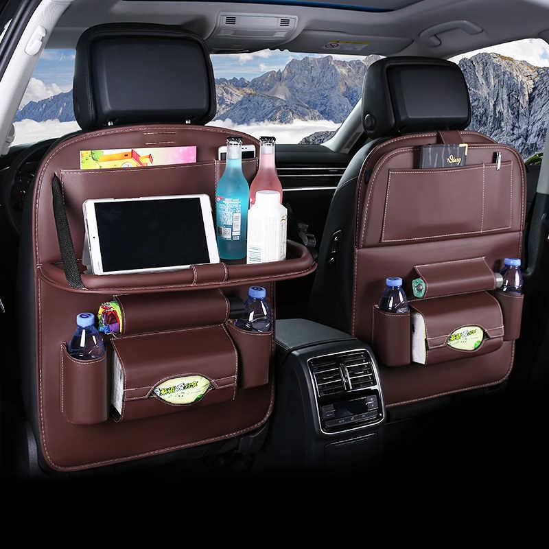 Car Back Seat Organizer Pu Leather Auto Storage Bag With Foldable