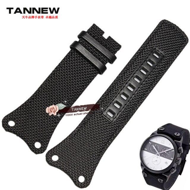 Negro banda de reloj 30mm para hombre Caballero de la OTAN de nylon correa de lona corresponde ajuste ck K4B381B3 K4B384B6