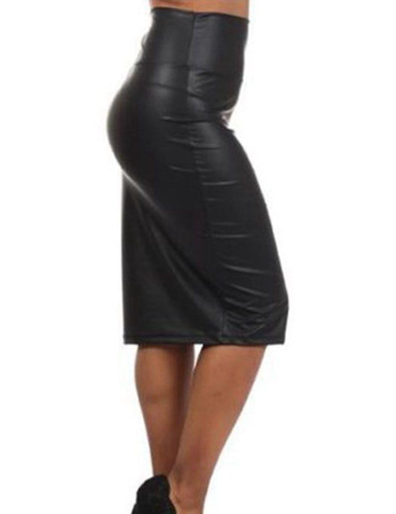 High waist skirt women plus size 2xl 3xl sexy pencil for Define faux leather
