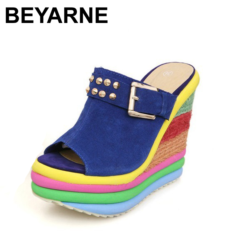 BEYARNE Sandalias Plataforma Summer Shoes Woman Bohemia Rainbow High Heel Slip On Peep Toe Platform Wedges Sandals Womens buckle slip on wedges