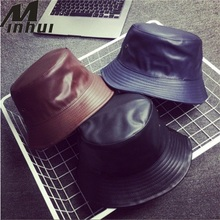 Minhui 2017 New Fashion PU Hip Hop Caps Bucket Hats for Men and Women Hat  Leather 5c540f763c40