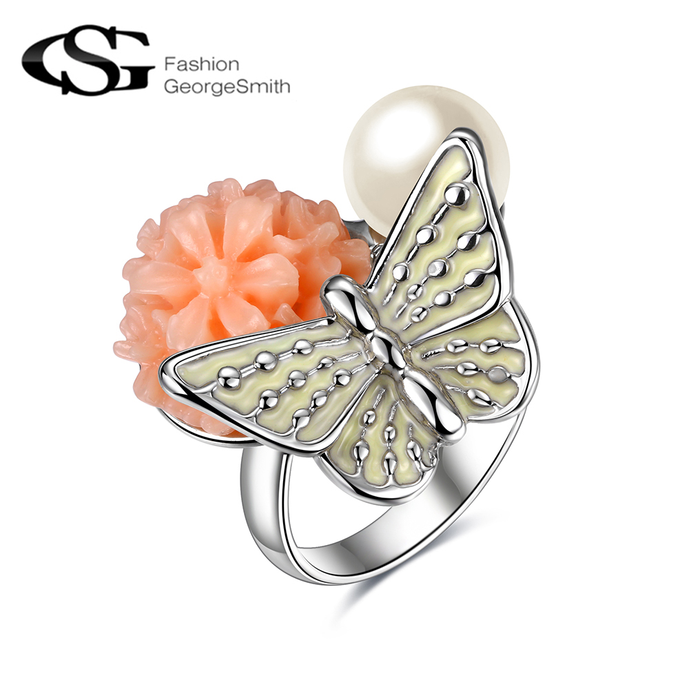 Women Rings Flower Aneis-Color Vintage Wedding Pearl Simulated on Romantic-Design Butterfly