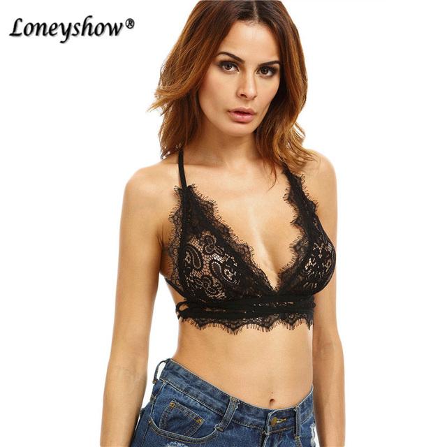 Loneyshow Correa Encaje Camisola Crop Top de Encaje Negro de Calidad Superior Negro Sexy Taza Triángulo Tie Back Lencería underware Sujetador W35