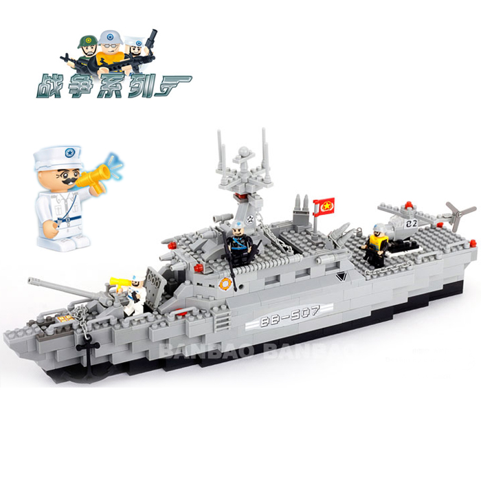 Banbao 8415 Military Series Prigate 458 pcs Plastic Building Block Sets Educational DIY Bricks Toys for children