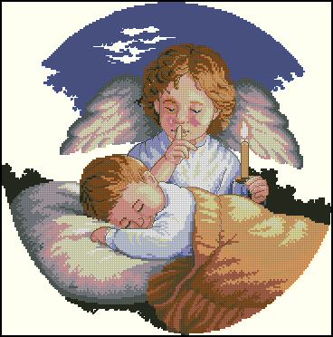 Top Quality Beautiful Lovely Counted Cross Stitch Kit Baby Sleep Sleeping Guardian Angel with Candle