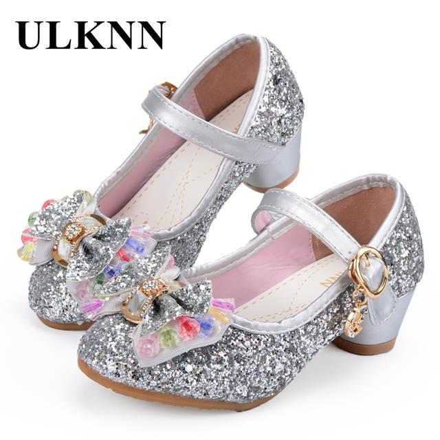ULKNN Butterfly Children Princess Shoes Girls Bowtie Candy Color Hight  Heels Slip on Party Dance Sandals a75f5db6377d